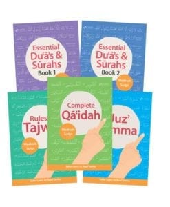 Madinah Script Bundle includes Complete Quadah, Juz Amma, Rules of Tajwid, Essential Duas and Surah Book 1 and 2